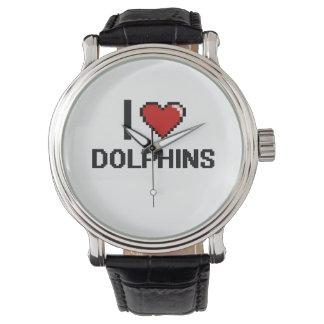 Amo el diseño de Digitaces de los delfínes Reloj