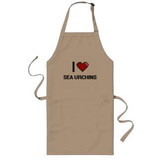 Amo el diseño de Digitaces de los erizos de mar Delantal Largo