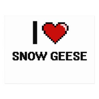 Amo el diseño de Digitaces de los gansos de nieve Tarjeta Postal