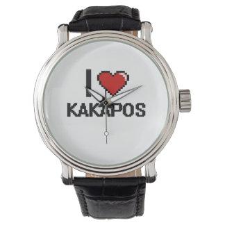 Amo el diseño de Digitaces de los Kakapos Reloj