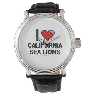 Amo el diseño de Digitaces de los leones marinos Relojes De Pulsera