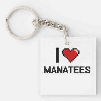 Amo el diseño de Digitaces de los Manatees Llavero Cuadrado Acrílico A Una Cara