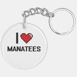 Amo el diseño de Digitaces de los Manatees Llavero Redondo Acrílico A Doble Cara