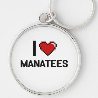Amo el diseño de Digitaces de los Manatees Llavero Redondo Plateado