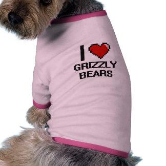 Amo el diseño de Digitaces de los osos grizzly Camiseta Con Mangas Para Perro
