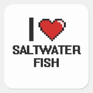 Amo el diseño de Digitaces de los peces de agua Pegatina Cuadrada