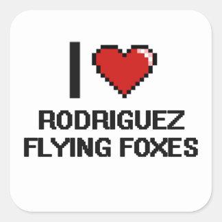 Amo el diseño de Digitaces de los zorros de vuelo Pegatina Cuadrada
