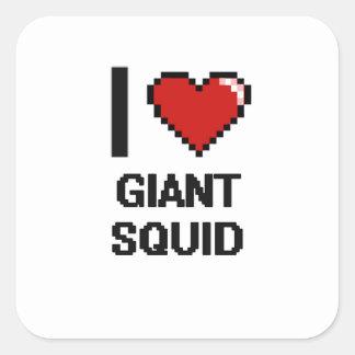 Amo el diseño de Digitaces del calamar gigante Pegatina Cuadrada