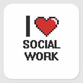 Amo el diseño de Digitaces del trabajo social Pegatina Cuadrada