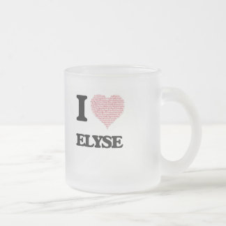Amo el diseño de Elyse (corazón hecho de palabras) Taza De Cristal