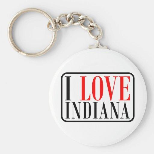 Amo el diseño de Indiana Llavero Redondo Tipo Pin