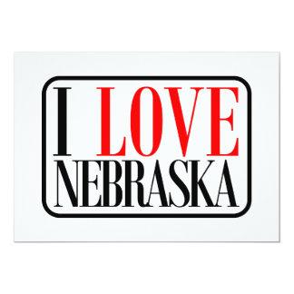 """Amo el diseño de Nebraska Invitación 5"""" X 7"""""""