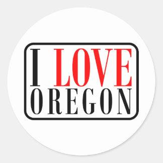 Amo el diseño de Oregon Pegatina Redonda