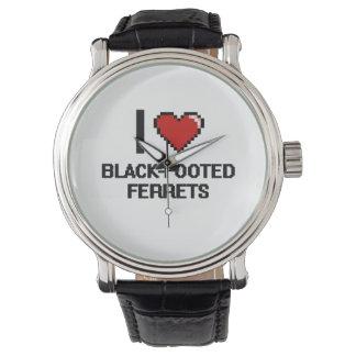 Amo el diseño Negro-Con base de Digitaces de los Relojes De Pulsera