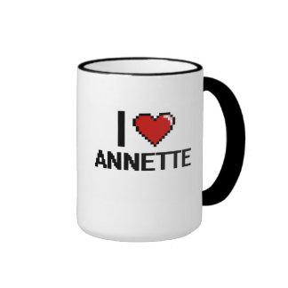 Amo el diseño retro de Annette Digital Taza A Dos Colores