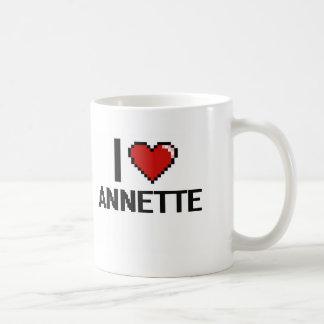 Amo el diseño retro de Annette Digital Taza Básica Blanca