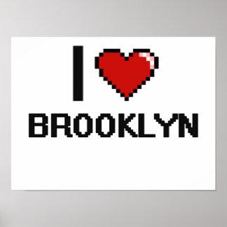 Amo el diseño retro de Brooklyn Digital Póster