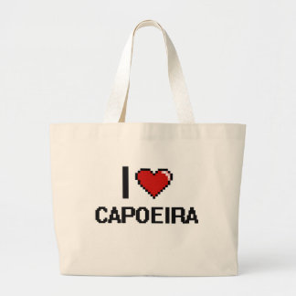 Amo el diseño retro de Capoeira Digital Bolsa Tela Grande