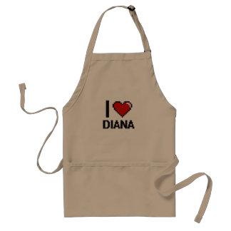 Amo el diseño retro de Diana Digital Delantal