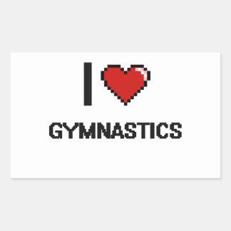 Amo el diseño retro de Digitaces de la gimnasia Pegatina Rectangular