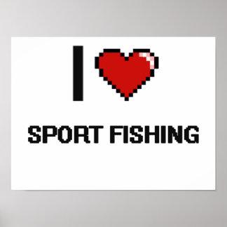 Amo el diseño retro de Digitaces de la pesca Póster