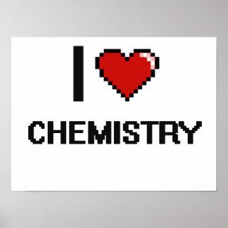 Amo el diseño retro de Digitaces de la química Póster