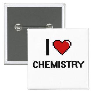 Amo el diseño retro de Digitaces de la química Chapa Cuadrada 5 Cm
