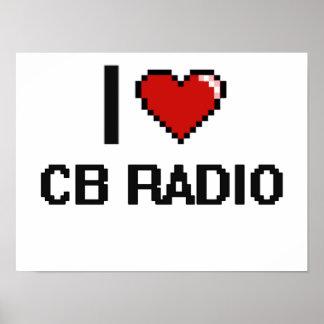Amo el diseño retro de Digitaces de la radio CB Póster