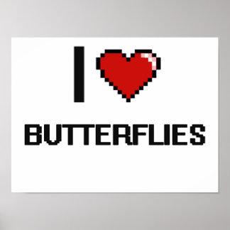 Amo el diseño retro de Digitaces de las mariposas Póster