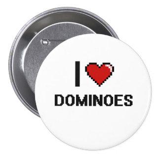 Amo el diseño retro de Digitaces de los dominós Pin Redondo 7 Cm