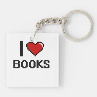 Amo el diseño retro de Digitaces de los libros Llavero Cuadrado Acrílico A Doble Cara