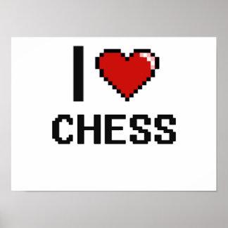 Amo el diseño retro de Digitaces del ajedrez Póster
