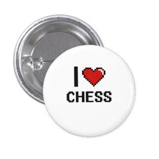 Amo el diseño retro de Digitaces del ajedrez Chapa Redonda 2,5 Cm