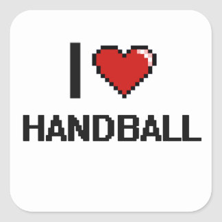Amo el diseño retro de Digitaces del balonmano Pegatina Cuadrada