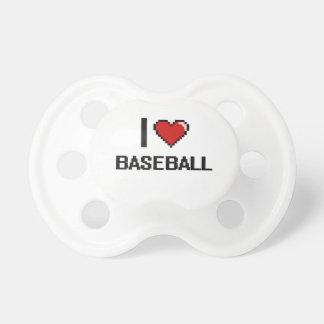 Amo el diseño retro de Digitaces del béisbol Chupetes Para Bebés