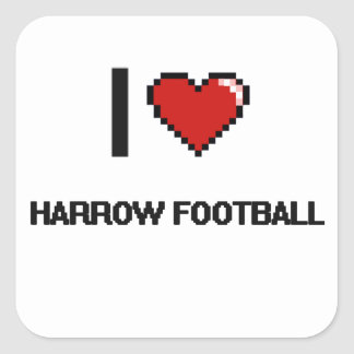 Amo el diseño retro de Digitaces del fútbol de la Pegatina Cuadrada