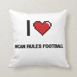 Amo el diseño retro de Digitaces del fútbol Incan Almohada