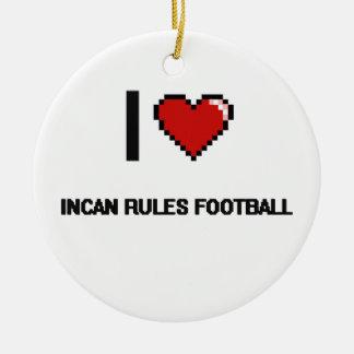 Amo el diseño retro de Digitaces del fútbol Incan Adorno Redondo De Cerámica