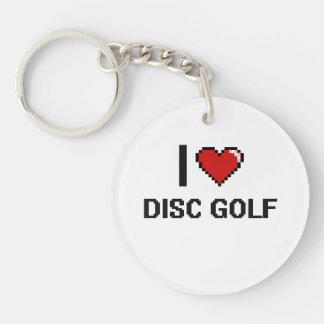 Amo el diseño retro de Digitaces del golf del Llavero Redondo Acrílico A Una Cara