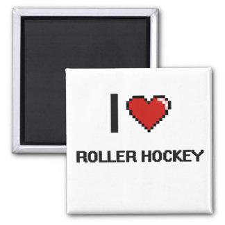 Amo el diseño retro de Digitaces del hockey del Imán Cuadrado
