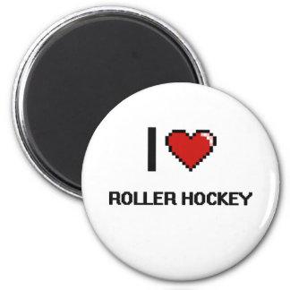 Amo el diseño retro de Digitaces del hockey del Imán Redondo 5 Cm