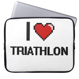 Amo el diseño retro de Digitaces del Triathlon Funda Ordendadores