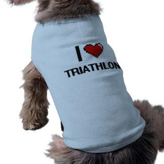 Amo el diseño retro de Digitaces del Triathlon Camiseta Sin Mangas Para Perro