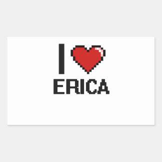 Amo el diseño retro de Erica Digital Pegatina Rectangular