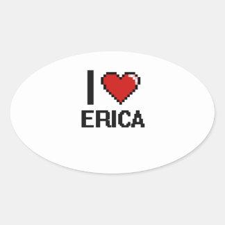 Amo el diseño retro de Erica Digital Pegatina Ovalada