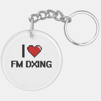 Amo el diseño retro de Fm Dxing Digital Llavero Redondo Acrílico A Doble Cara