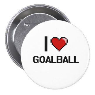 Amo el diseño retro de Goalball Digital Chapa Redonda 7 Cm