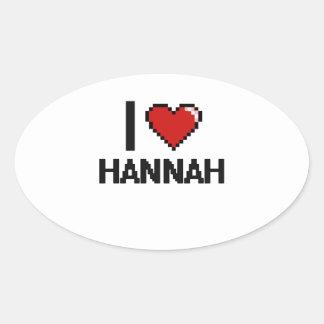 Amo el diseño retro de Hannah Digital Pegatina Ovalada