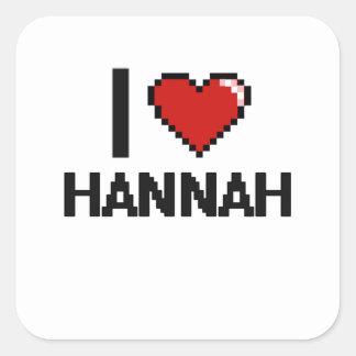 Amo el diseño retro de Hannah Digital Pegatina Cuadrada