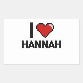 Amo el diseño retro de Hannah Digital Pegatina Rectangular